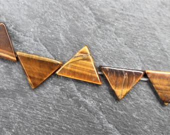 FIVE Tiger's Eye Beads, Triangle Shaped, 10mm x 15mm