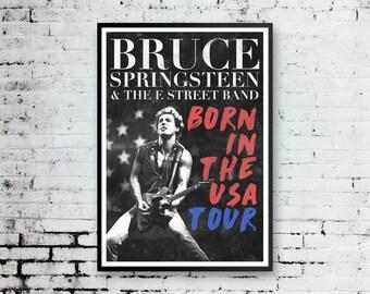 Bruce Springsteen Print, Bruce Springsteen Art, Concert Poster, Bruce Springsteen Poster, Born In The USA Poster, Pop Art, American Print