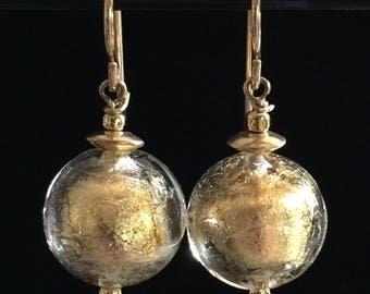 Elegant 24kt Gold Murano Glass earrings