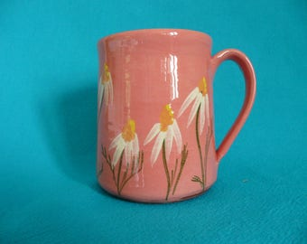 Pottery mug. Pink mug with daisies. Daisy mug with turquoise interior. Gift for garden lover