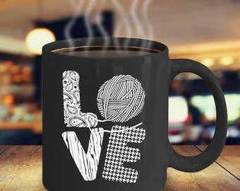 Crochet Coffee mug - Crochet coffee cup - Funny crochet coffee Mug - LOVE (Crochet) Mug - gift idea - gift mug - funny crochet mug