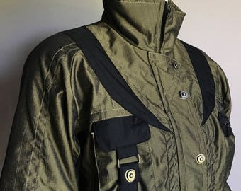 Schneider 4 (S) Peridot Green Taffeta Nylon Pro Ski Short Winter Coat Jacket Technical 80's Eighties
