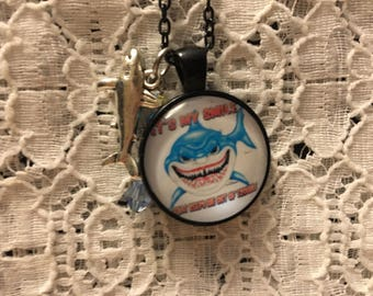 Funny Shark Charm Necklace/Shark Necklace/Shark Charm Pendant/Shark Pendant/Shark Jewelry/Funny Shark Jewelry