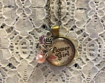 Flower Girl Charm Necklace/Flower Girl Charm Pendant/Flower Girl Jewelry/Flower Girl Gift/Flower Girl Present/Wedding Attendant Gift