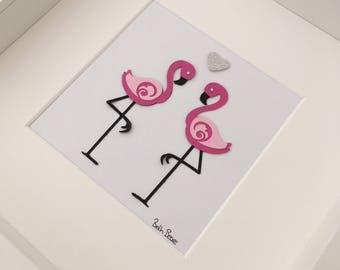 Flamingo 3D wall art, Flamingo picture, Picture for bedroom, Flamingo Art, Nursery Picture