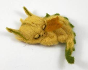 Baby Sleeping Dragon Needle Felted - Brooch