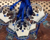 prince crown silver baby shower pacifier/prince crown silver baby shower necklace game/ prince silver baby shower favors/prince baby shower