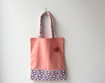 "Tote bag ""thank you teacher"" coral"