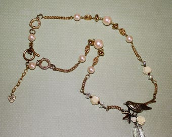 Romantic Ivory Roses and Gold Bird on a Rose Branch Necklace