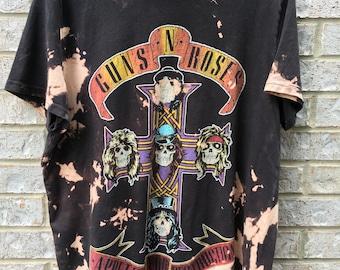 Vintage Inspired Bleached & Distressed Guns 'N Roses Shirt