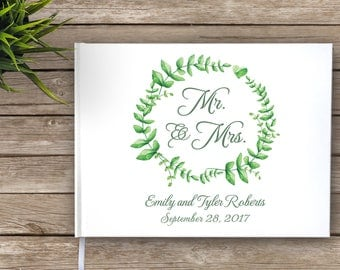 Floral Wreath Wedding Guest Book, Garden Wedding Guestbook, Mr and Mrs, Custom Guest Book, Personalized Guest Book, wreath, green, white