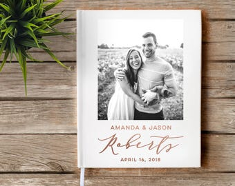 Photo Wedding Guest Book with real foil, Photo guest book, Gold Foil, Rose Gold Foil, Silver Foil, Real Foil, Custom Guest Book,