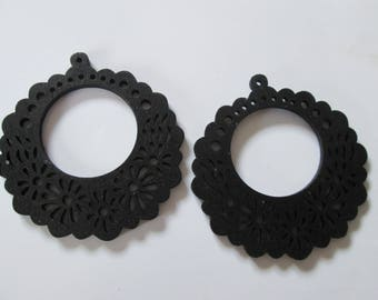 prints 2 wood flowers, 57 mm black wood beads