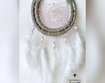 Horseshoe Dreamcatcher in white pink