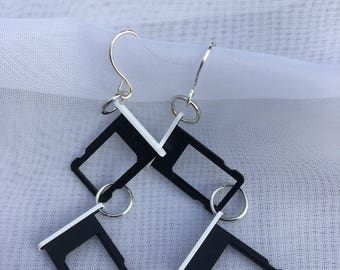 Earrings - black/white recycled iphone SIM card trays