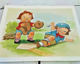 "Vintage 1960's Campbell Soup Kids Print Picture Baseball Catcher 8""X10"""