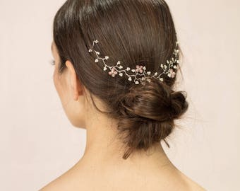 Ethy Garland - Delicate pearl and blush pink mini bridal hairvine