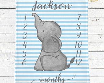 Monthly Milestone Blanket Boy / Blue And Grey Elephant Baby Shower / Blue And Grey Baby Blanket / Blue And Grey Baby Shower / Blue Blanket