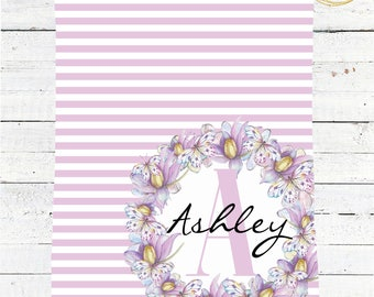Purple Baby Blanket / Personalized Monogram Baby Blanket / Butterfly Baby Gift / Baby Blanket Personalized / Watercolor Floral Baby Blanket