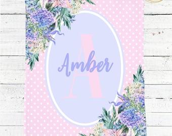 Monogram Baby Blanket / Polka Dot Baby Blanket / Watercolor Floral Baby Blanket / Baby Shower Gift For Girl / Name Baby Blanket / Minky Girl