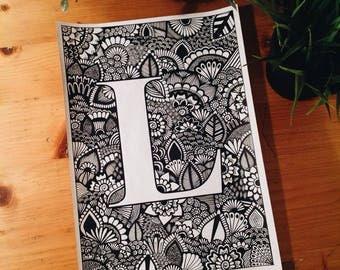 Letra L Zentangle