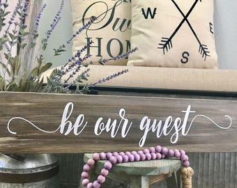 "Wood Sign ""Be Our Guest"" with Customized Colors & Size, Disney Sign"