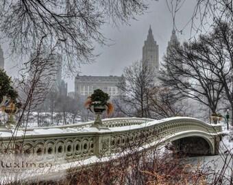 NYC Bow Bridge Central Park In the Winter Snow Fine Art Photograph Wall Decor