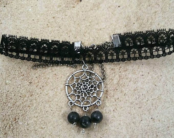 Spiderweb choker, Halloween, Spiderweb Silver Charm, Spider, Black Lace, Choker Necklace, For Her, Pendant Choker