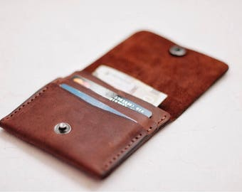 Leather wallet / compact purse / Leather wallet / Leather wallet handmade / Red brown / Mens bifold wallet / Billfold wallet