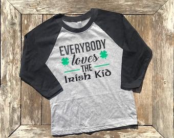 Youth St. Patrick's Day Shirt, Irish Kid  Raglan Tshirt, Irish Youth Tee, St. Patricks Day Gift
