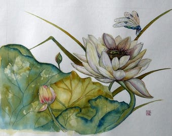 Contemporary, watercolor painting, the white lotus, Cyane botanical watercolor painting