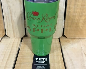 30 oz YETI, Powder Coated Light Green with Crown Royal Regal Apple
