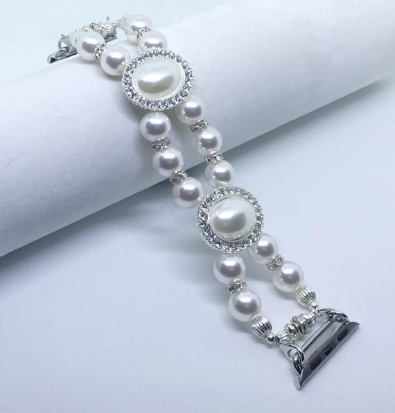 Apple Watch Band, Women Bead Bracelet Watch Band, iWatch Strap, Apple Watch 38mm, 42mm, Swarovski White Pearl Size 6 3/4""