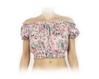 Irene top in minty floral