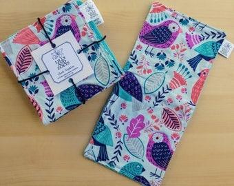 Modern Cloth Napkins, Colorful Birds, Set of 6, Unpaper Towels, Everyday Napkins, Table Napkins, Reusable Napkins, Double Sided Napkins