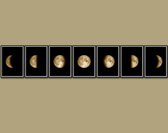Moon Phases Set, Moon Phases Wall Art, Moon Phase Print, Phases Of The Moon, Lunar Phase Art, La Luna Phase, Moon Poster, Moon Phase Decor