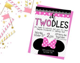 Minnie Mouse Birthday, Girls Second Birthday, Digital File