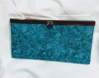 Women's wallet, Teal wallet, Diva frame closure, Credit card holder, Zippered coin pocket, Cell phone pocket, Gift, Clutch purse