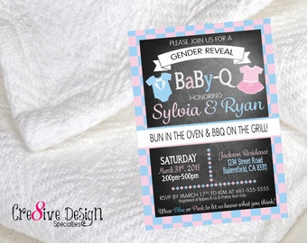 BaBy-Q Gender reveal Baby Shower Custom Invitation Design, Pink or Blue, Gender Reveal, BABYQ, BABY-Q, Bun in the oven BBQ on the grill