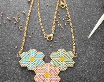 Brickstitch geometric flower Choker necklace