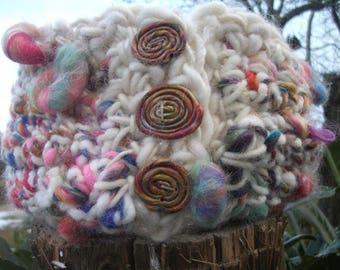 """Lollipops"" cowl with handspun yarn."