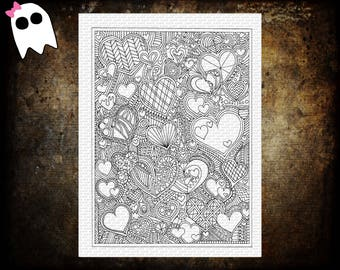 CP-13 // Hearts Flowers Printable Coloring Page - Printable Coloring Page for Adults and Kids - Detailed Coloring Page - Download and Print