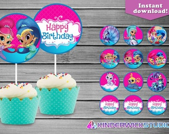 Shimmer and Shine Birthday Cupcake Toppers, Shimmer and Shine Cupcake Toppers, Shimmer and Shine Birthday party supply, Shimmer and Shine
