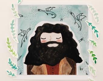 Art Print + Portrait Print + Watercolor + Hagrid + Rubeus Hagrid + Hogwarts + Harry Potter + Gift for Him + Gift for Her + Nerd Art + Magic