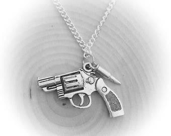 "Silver Revolver/gun/pistol and bullet 28"" pendant necklace"