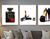 Chanel print Chanel perfume Fashion illustration Chanel set of 3 Chanel painting Christian Louboutin shoes Chanel wall decor Chanel poster