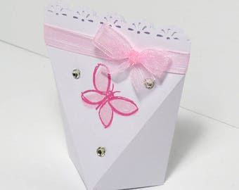 Automatic closing favor pink butterfly, baptism, bombiniere, multicolor, favour, baby shower