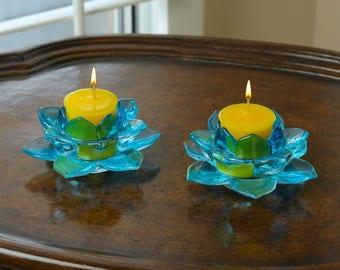 2-Piece Lotus Votive Holder Blue Glass