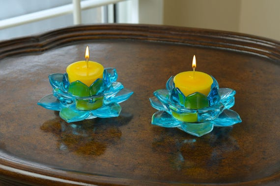 2-Piece Blue Glass Lotus Flower Candle Holder