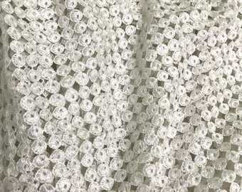 White Delicate Cutwork Lace Fabric Embellished with Sequins - Sold by the Yard - Width 52 inches